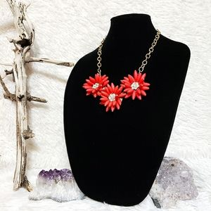 Hot Coral Floral Statement Necklace on Gold Chain